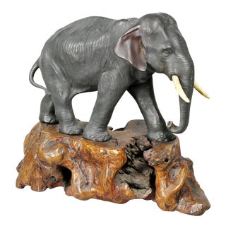Japanese Bronze Elephant on Burl Wood Base For Sale