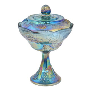 Peacock Blue Pedestal Bowl For Sale