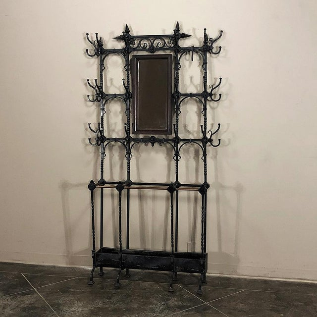 Renaissance Revival 19th Century Wrought Iron Hall Tree For Sale - Image 3 of 12