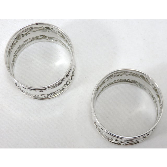 Vintage Victorian Gorham Sterling Silver Napkin Rings - a Pair For Sale - Image 9 of 12