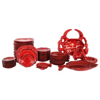 Italian Red Glazed Ceramic Dinner Set For Sale