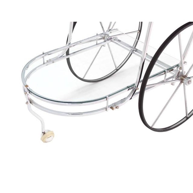 Large Wheel Design Chrome and Glass Tea Bar Cart For Sale - Image 4 of 7