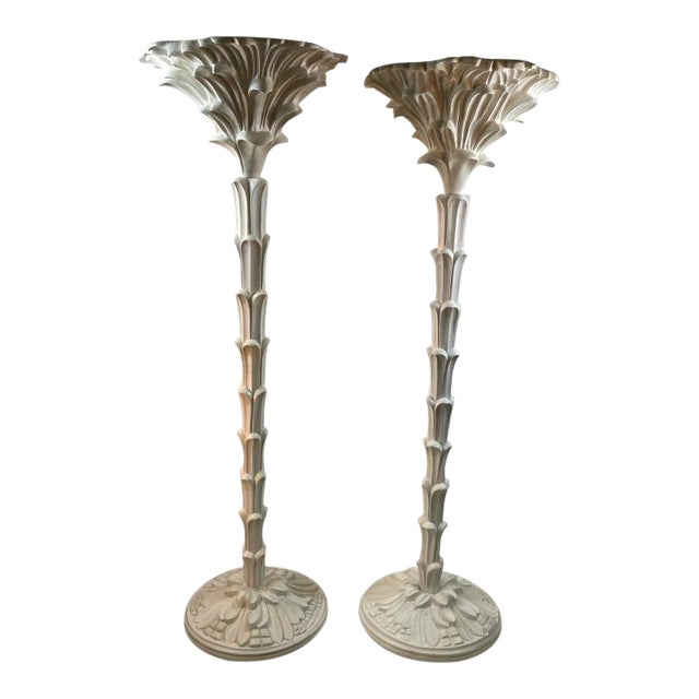 Exceptional Pair of Carved Wood Floor Lamps in the Manner of Serge Roche For Sale