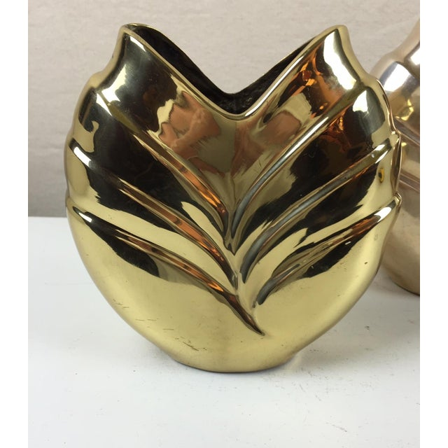 Art Deco Style Brass Vases - A Pair - Image 3 of 5