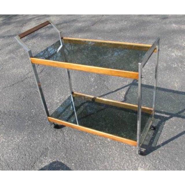 1970s Vintage Mid-Century Modern Rolling Serving Bar Chrome Teak Glass Cart For Sale - Image 5 of 5