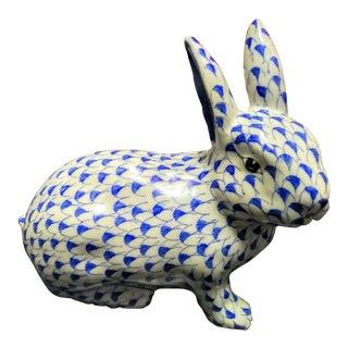 Blue White Fishnet Printed Herend Style Ceramic Bunny Rabbit For Sale