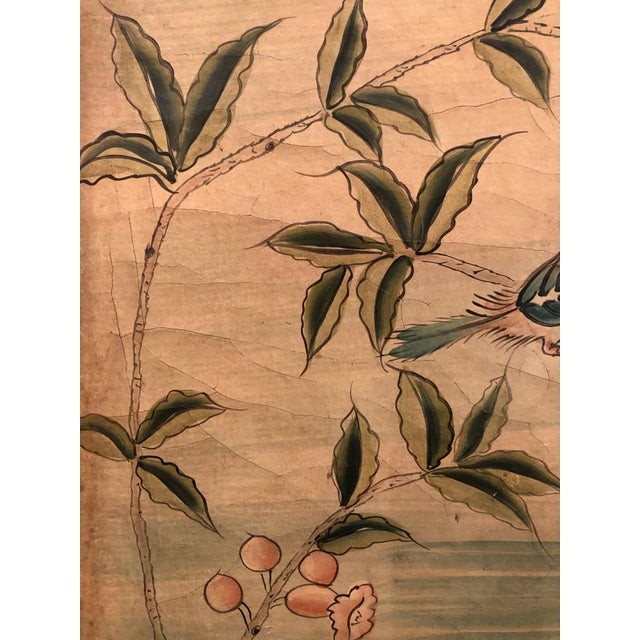 Wood Hand Painted Asian Panels With Birds & Foliage - a Pair For Sale - Image 7 of 10