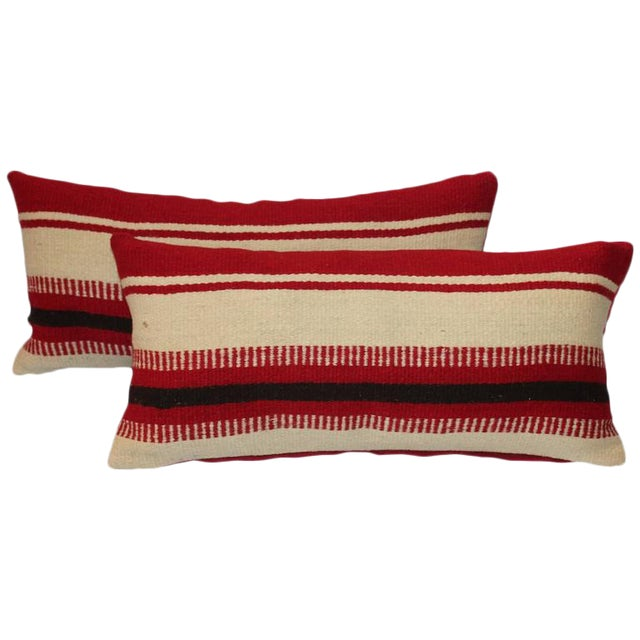 Pair of Mexican Indian Weaving Striped Bolster Pillows For Sale