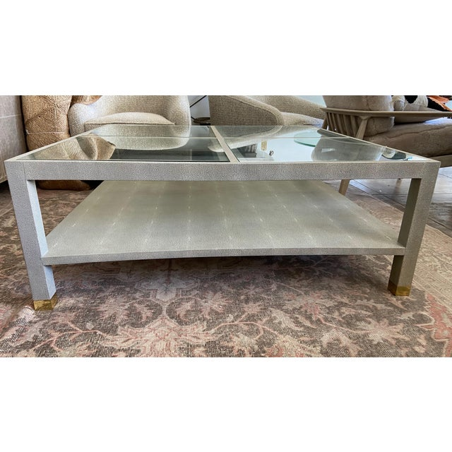 Contemporary Large Square Faux Shagreen Coffee Table For Sale - Image 3 of 8