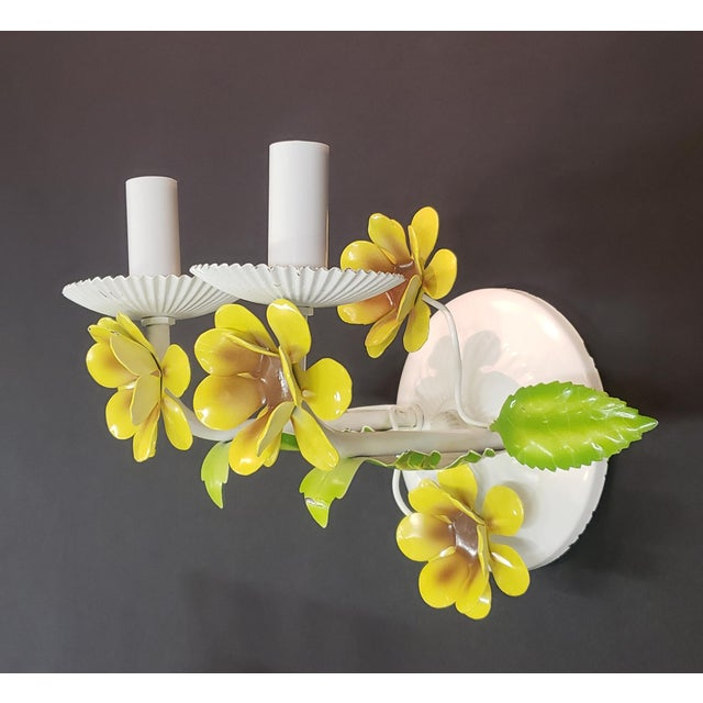 Pair of 2 light wall sconce with Daffodil flowers and leaves. All new electrical with candleabra sockets that are rated up...
