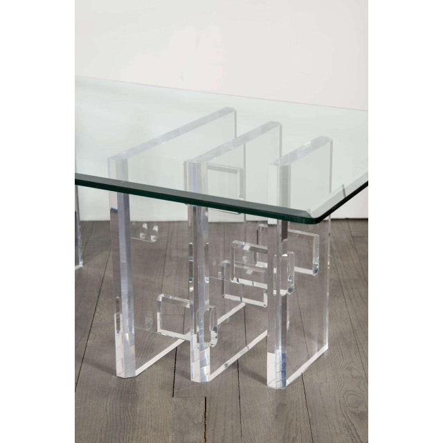 Sophisticated Mid-Century Modern Lucite and Glass Cocktail Table For Sale - Image 4 of 9