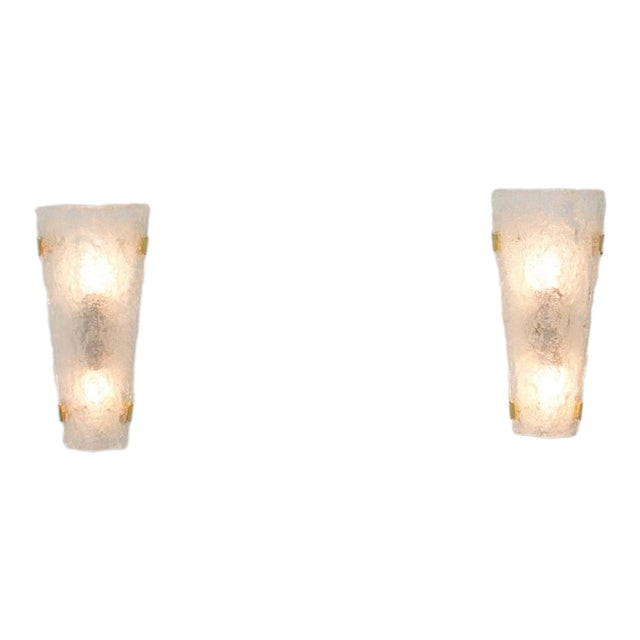 Pair of Hillebrand Brass and Glass Wall Sconces, 1965 For Sale