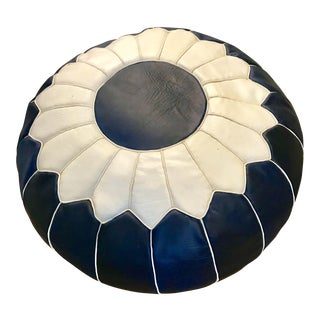 Moroccan Navy & White Leather Pouf