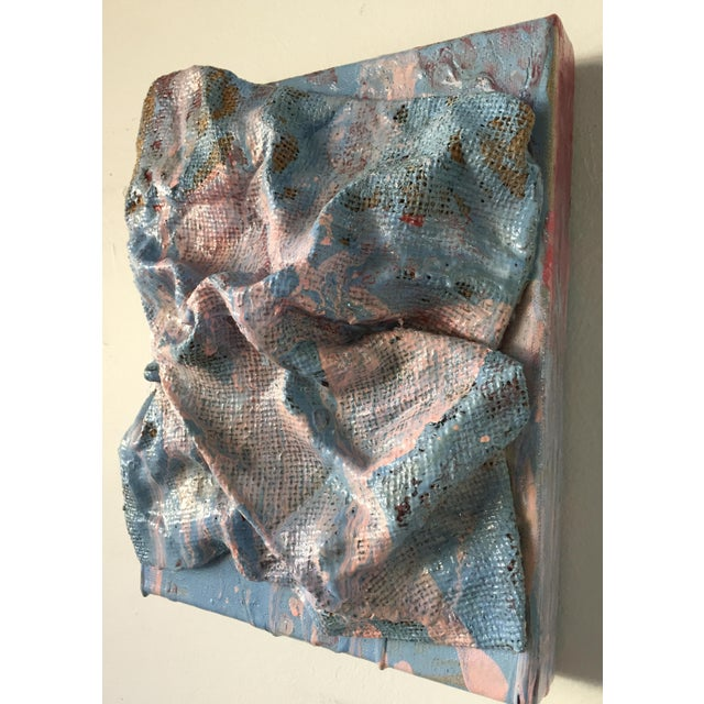 """Chloe Hedden """"Sky Blue Burlap Drips"""" Mixed Media Wall Sculpture by Chloe Hedden For Sale - Image 4 of 13"""