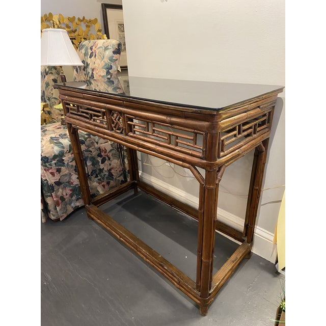 Boho Chic 1960s Boho Chic Bamboo Walnut Console Table For Sale - Image 3 of 9