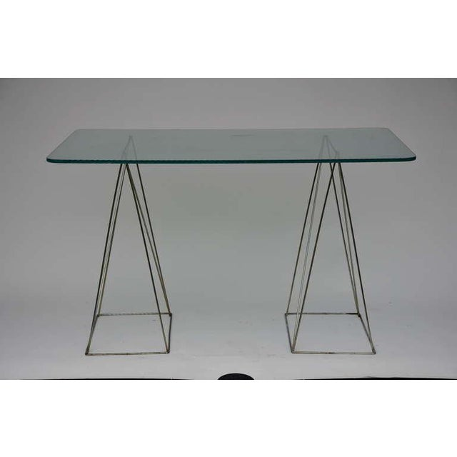 Minimalist steel and glass trestle table