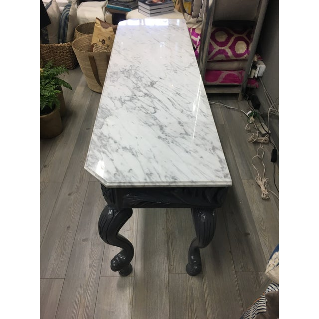Wood Vintage Grey Lacquered & Marble Top Console For Sale - Image 7 of 11