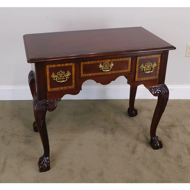 High Quality American Made Mahogany Banded Inlay Top Console Table with Dovetailed Drawers and Ball and Claw Carved...