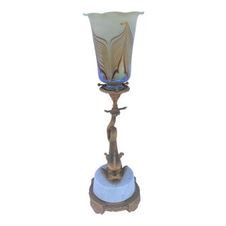 French Style Bronze Dolphin Lamp -Art Glass Shade 18k Gold Finish For Sale