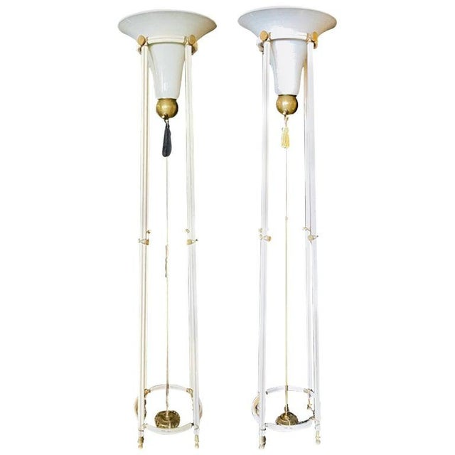 Pair of Mid-Century Modern Bronze Floor Torchiere Lamps With Porcelain Globes For Sale - Image 12 of 12