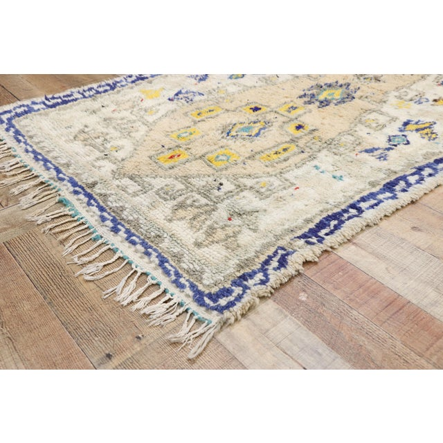 21069, vintage Berber Moroccan Azilal rug with boho chic Hygge style and Memphis design 03'06 x 06'02. Softer yet no less...
