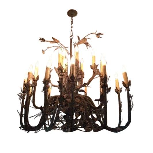 24-Light Decorative Ironwork Chandelier - Image 1 of 4