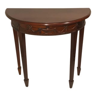 Carved Mahogany Demi Lune Half Moon Hall Side Console Table For Sale