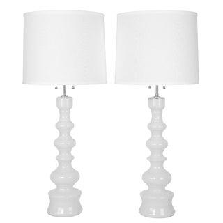 1960's vintage Lindshammar studio White table lamps For Sale