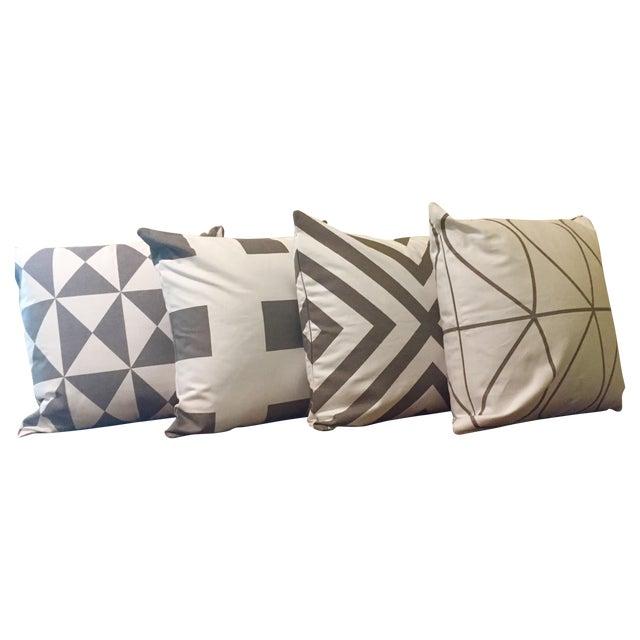 Gray & White Geometric Pillows - Set of 4 - Image 1 of 11