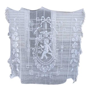 Vintage French White Coverlet Lace Cupid Angel Cotton Bed Cover Filet For Sale
