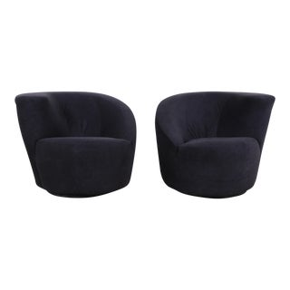 "Vladimir Kagan for Directional ""Nautilus"" Swivel Club Chairs, Pair For Sale"