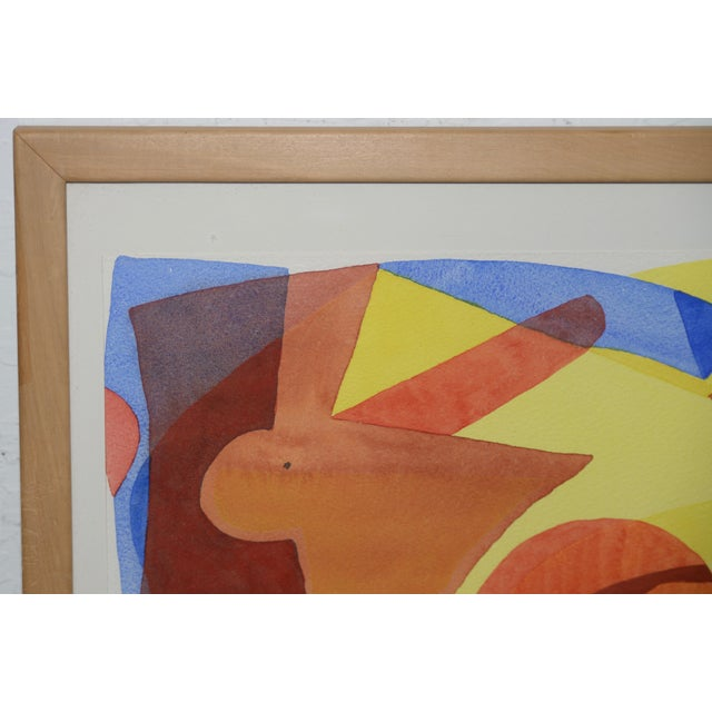 """1960s Katherine Barieau (1917-2010) """"Child's Room"""" Abstract Watercolor C.1967 For Sale - Image 5 of 10"""