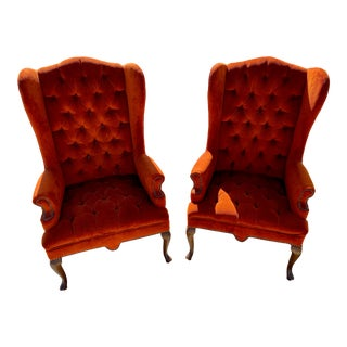 Mid-Century Modern Queen Anne Style Wing Chairs- A Pair For Sale