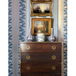Mid Century Bassett Furniture Nautical Campaign Chest With Brass Trim Preview