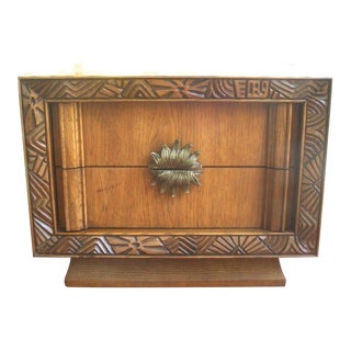 Midcentury Brutalist Tiki Polynesian Night Stand End Table For Sale