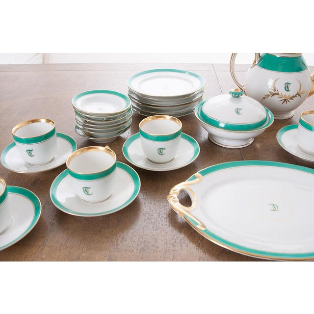 """French French 19th Century Old Paris """"T"""" Dessert Service - Set of 33 Pieces For Sale - Image 3 of 10"""