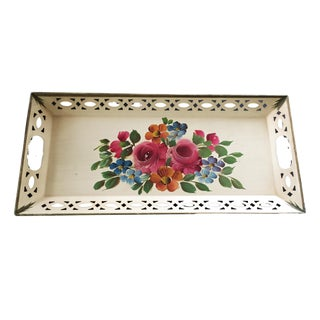 1940s Cottage Russian H.Painted Tin Tray For Sale