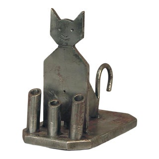French Handmade Iron Cat Paperweight and Pen Holder For Sale