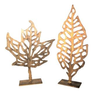 Uttermost Hazuki Metal Leaf Shapes in Distressed Gold Leaf Metal Sculptures - a Pair