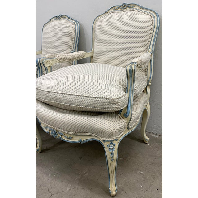 Pair of French Style Carved & Upholstered Arm Chairs C.1940s For Sale In San Francisco - Image 6 of 10