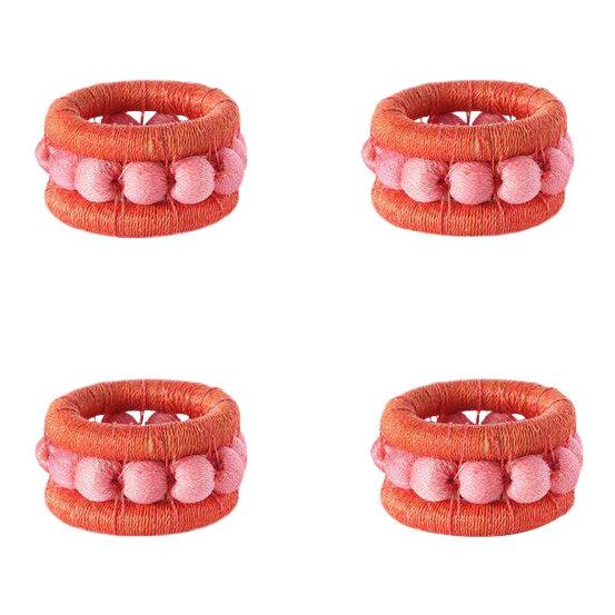Berry Sisal Napkin Rings Tangerine/peony - Set of 4 For Sale