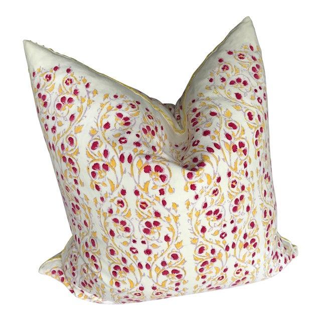John Robshaw Block Print Cotton Pillow For Sale
