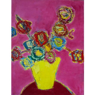 """Bill Tansey """"Yellow Vase on Red Table"""" Abstract Floral Painting Oil on Canvas For Sale"""