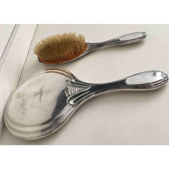Glass 19th Century Sterling Silver Hand Mirror and Hair Brush For Sale - Image 7 of 12