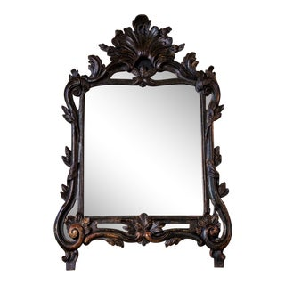 Ebonized Hand-Carved Italian Mirror For Sale