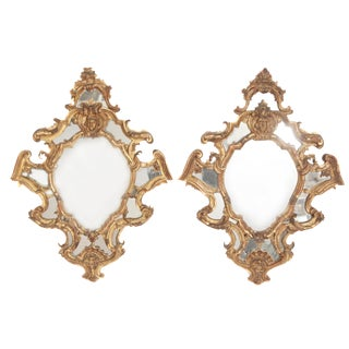 Pair of 19th Century Venetian Carved Giltwood Mirrors For Sale