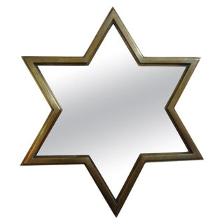 Italian Mid-Century Modern Brass Star Shaped Mirror For Sale