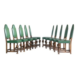 Danish Early 1900s Country Style Neo-Baroque Oak Dining Chairs - Set of 10