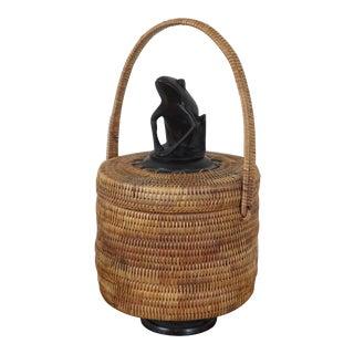 Vintage Wood Carved Frog Woven Rattan Fiber Basket For Sale