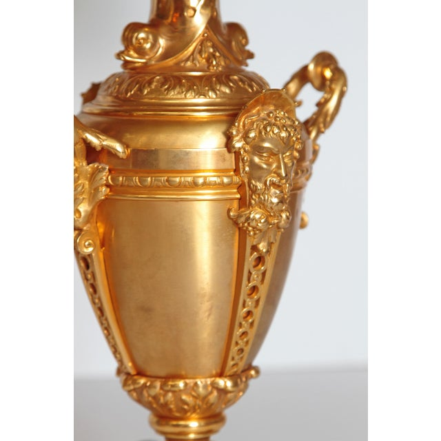 19th Century Continental Pair of Gilt Metal Vases as Lamps For Sale - Image 9 of 13